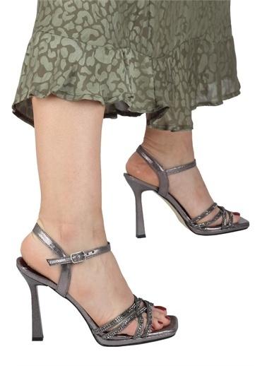 Modabuymus Modabuymus  Taşlı Çapraz Bantlı Platform Topuklu  Abiye Ayakkabı - Reul Gri